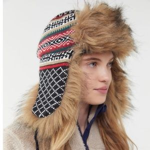 NWT UO Urban Outfitters Fair Isle Fur Trapper Hat